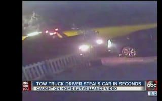 Tow-truck speeds away after stealing car in Florida