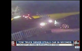 Tow-truck speeds away after stealing car in Florida