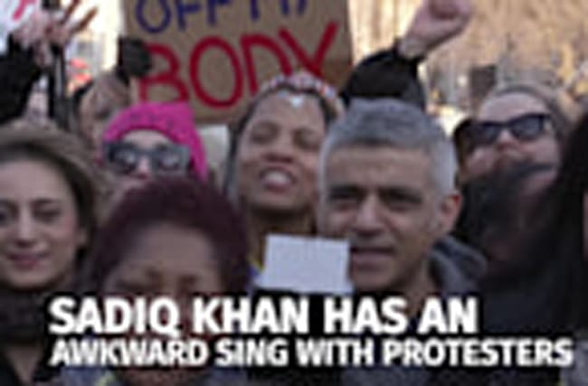 Watch Sadiq Khan's awkward sing along with protesters at the Women's March