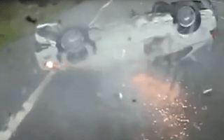 Baby and parents miraculously uninjured after car flips on M5