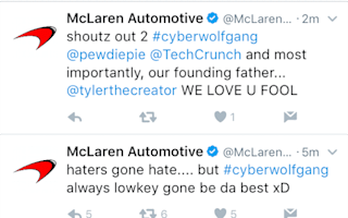 McLaren Automotive's Twitter account was hacked at the weekend