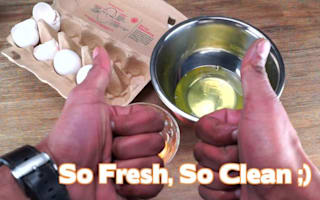 The easiest way to separate an egg yolk
