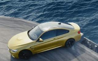 Video: BMW lets it slide on an aircraft carrier