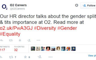 O2, writing about gender equality, accidentally tweets about 't*ts'