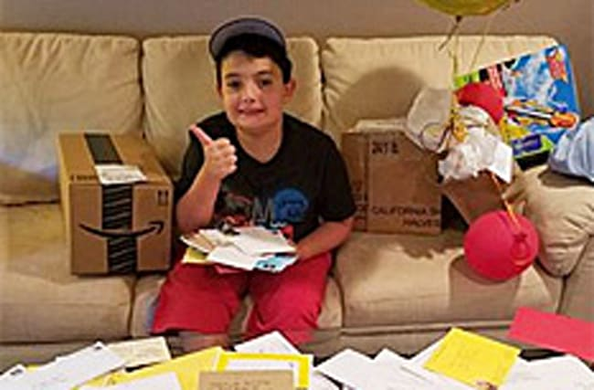 Friendless autistic boy is showered with gifts and cards