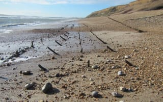 WW2 anti-invasion spikes found on Hampshire beach