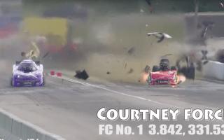 Shocking moment NHRA racing car explodes on track
