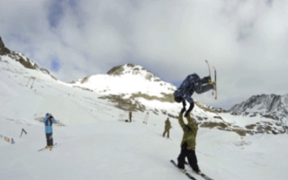 Skier performs the ultimate high five (video)