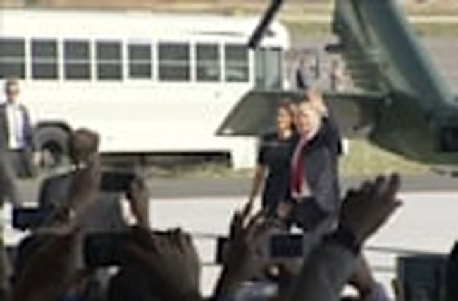 U.S. President Trump lands at Sigonella military airbase in Italy