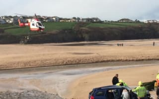 Car crashes onto beach in Cornwall