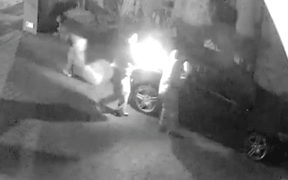 CCTV shows arsonists burning Mercedes on owners' drive