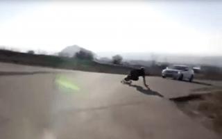 Skateboarder crashes into car during high-speed downhill run
