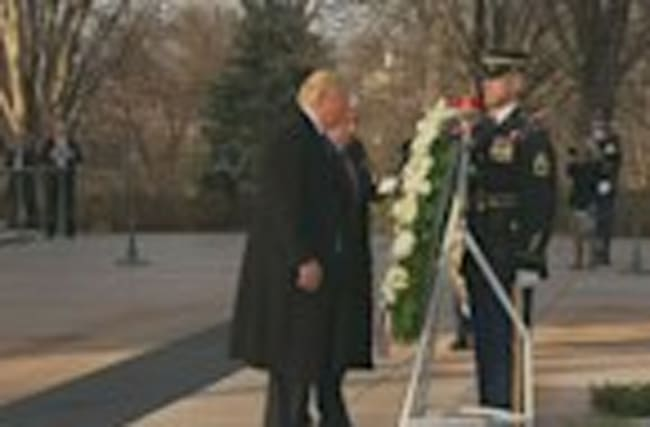 Donald Trump and Mike Pence lay wreath at Arlington Cemetary