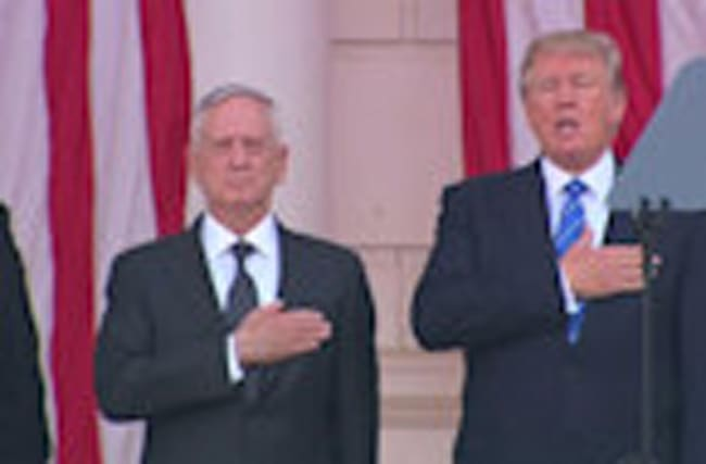 Trump sways and sings the national anthem