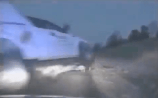 Flying truck narrowly misses cops