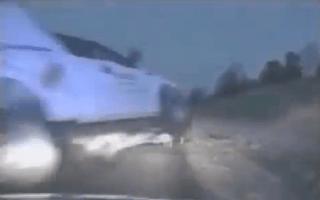 Flying truck narrowly misses cops