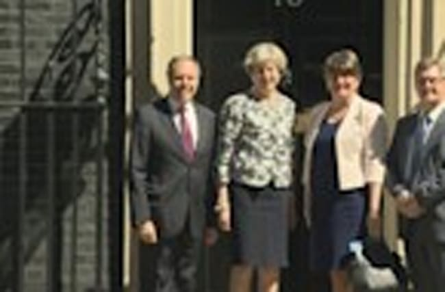 DUP leader Arlene Foster arrives at Downing Street