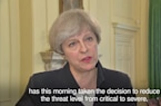 Theresa May: UK terror threat level lowered to 'severe'