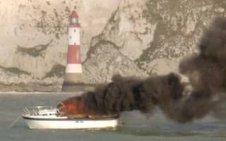 Man rescued after boat catches fire off East Sussex coast
