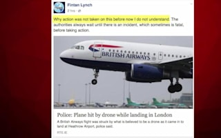 British Airways plane struck by drone near Heathrow