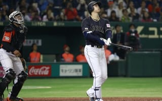 Watch as baseball star Shohei Otani finds an unconventional way to smash the ball out of the park