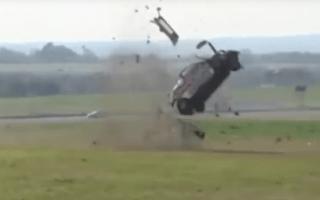 Renault race car rolls 11 times in crash