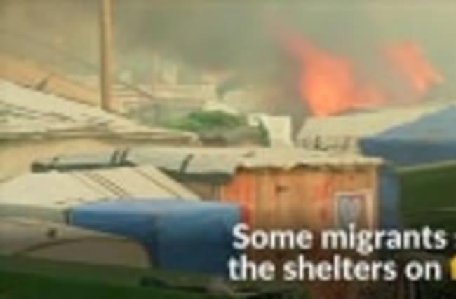 Calais 'Jungle' camp tents set ablaze