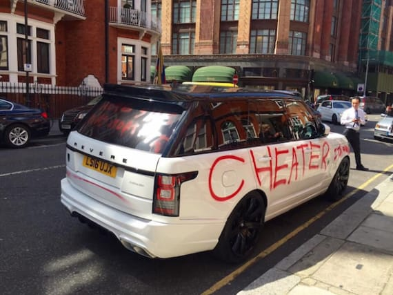 Range Rover covered in angry messages spotted in London