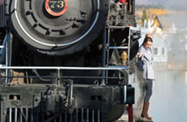 Kate and Wills teeter on edge of railway bridge beside steam train