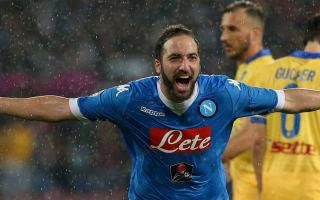 Napoli 4 Frosinone 0: Record-breaking Higuain clinches automatic Champions League spot