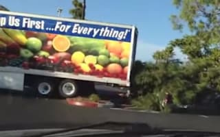 Video: Reversing lorry driver fells tree and rams pick-up