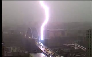 Watch: Terrifying lightning strike on Tyne Bridge