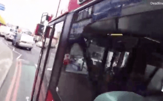 Cyclist forced out of bike lane by bus