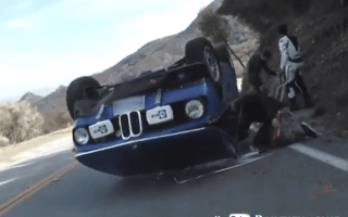 Beautifully restored BMW 2002 flipped on roof by young driver