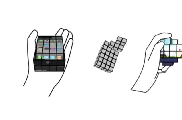 Esta pantalla conceptual funciona como un cubo de Rubik