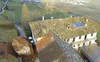 Video: Huge boulder crashes through 300-year-old barn in Italy after rockfall