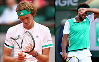 Zverev stumbles out, Tsonga on the brink