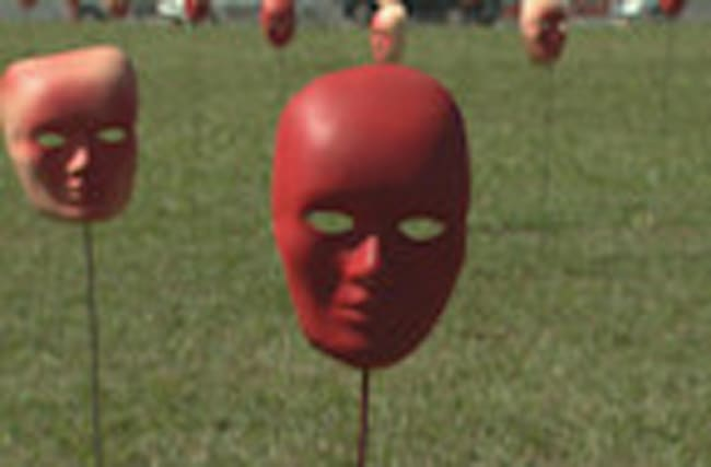 Brazilians display red masks in symbolic anti-corruption protest