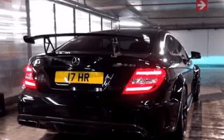 Mercedes C63 AMG Black sets off car park fire alarms with smoky burnout