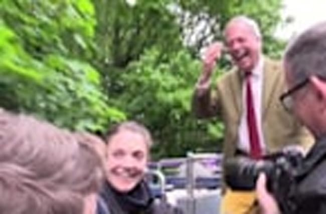 Nigel Farage attacked by trees on open top bus