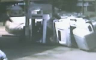 Watch: Near catastrophe as lorry crashes into petrol station