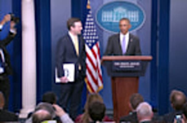Obama surprises WH press secretary at last press briefing