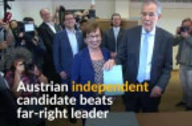 Austrian independent candidate Alexander van der Bellen beats far-right leader Norbert Hofer in presidential election