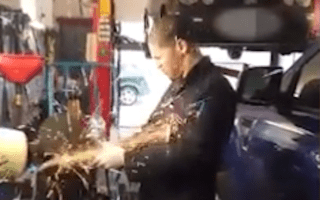 Apprentice mechanic showered with sparks refuses to wear safety goggles