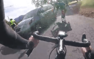 Group of cyclists crash after hitting car