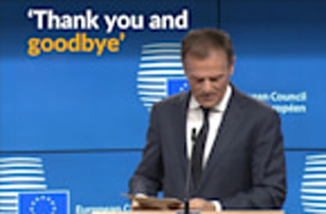 EU's Tusk expresses sorrow after receiving formal Brexit notification