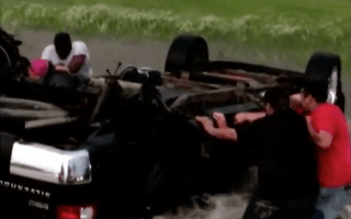 Strangers rescue young family from raging floodwaters