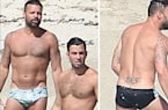 Ricky Martin and Fiance Flaunt Speedo and Tattoos on Beach