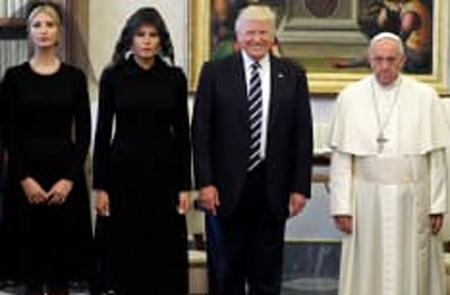 The Pope didn't look very happy when he met Donald Trump