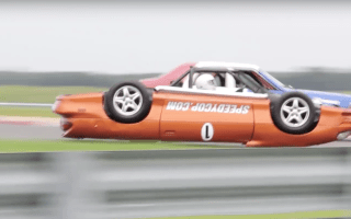 Upside down Camaro race car built